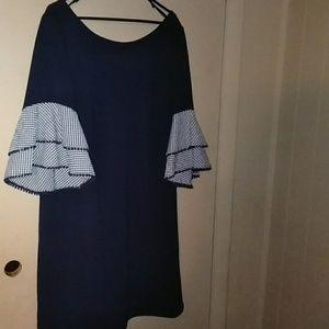 Navy dress with ruffle sleeve